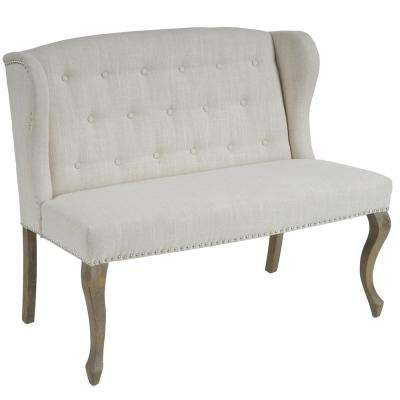 Adrianna Natural Plain Fabric Wingback Button-Tufted Loveseat