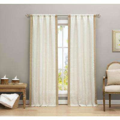 Koti Linen-Wheat Linen and Poly Pole Top Panel Pair - 38 in. W x 84 in. L in(2-Piece)