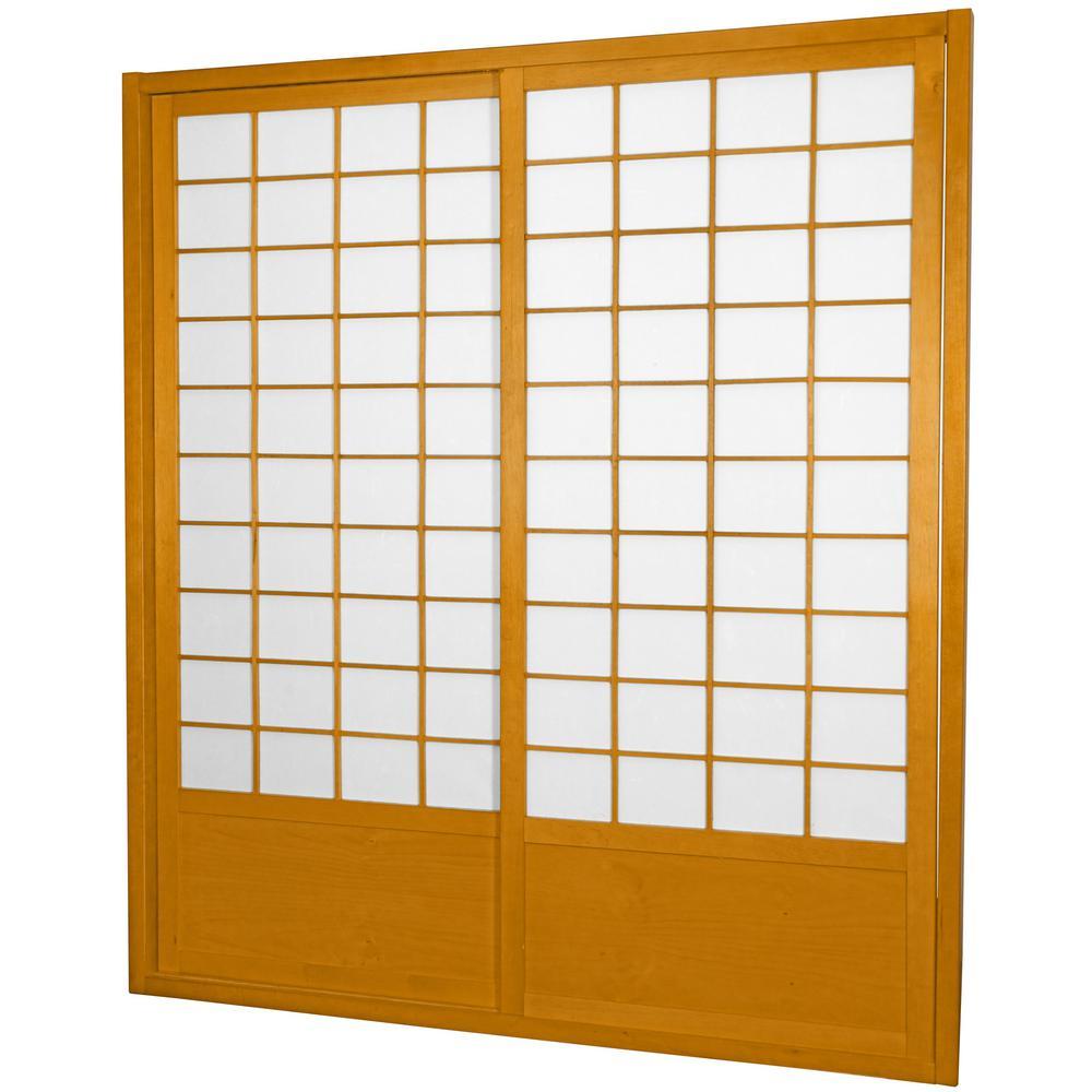 7 ft. Honey Double Sided 2-Panel Sliding Door