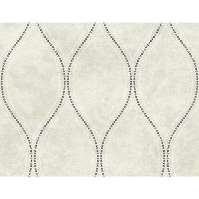 60.8 sq. ft. Eira Ivory Marble Ogee Wallpaper