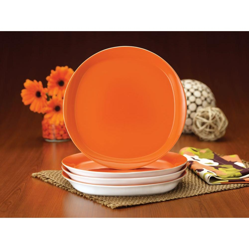 Rachael Ray Round and Square 4-Piece Dinner Plate Set in Tangerine