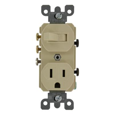 Leviton 15 Amp Tamper-Resistant Combination Switch and Outlet, Ivory-R51- T5225-0IS - The Home DepotThe Home Depot