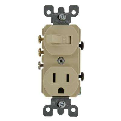 15 Amp Commercial Grade Combination 3-Way Toggle Switch and Receptacle, Ivory