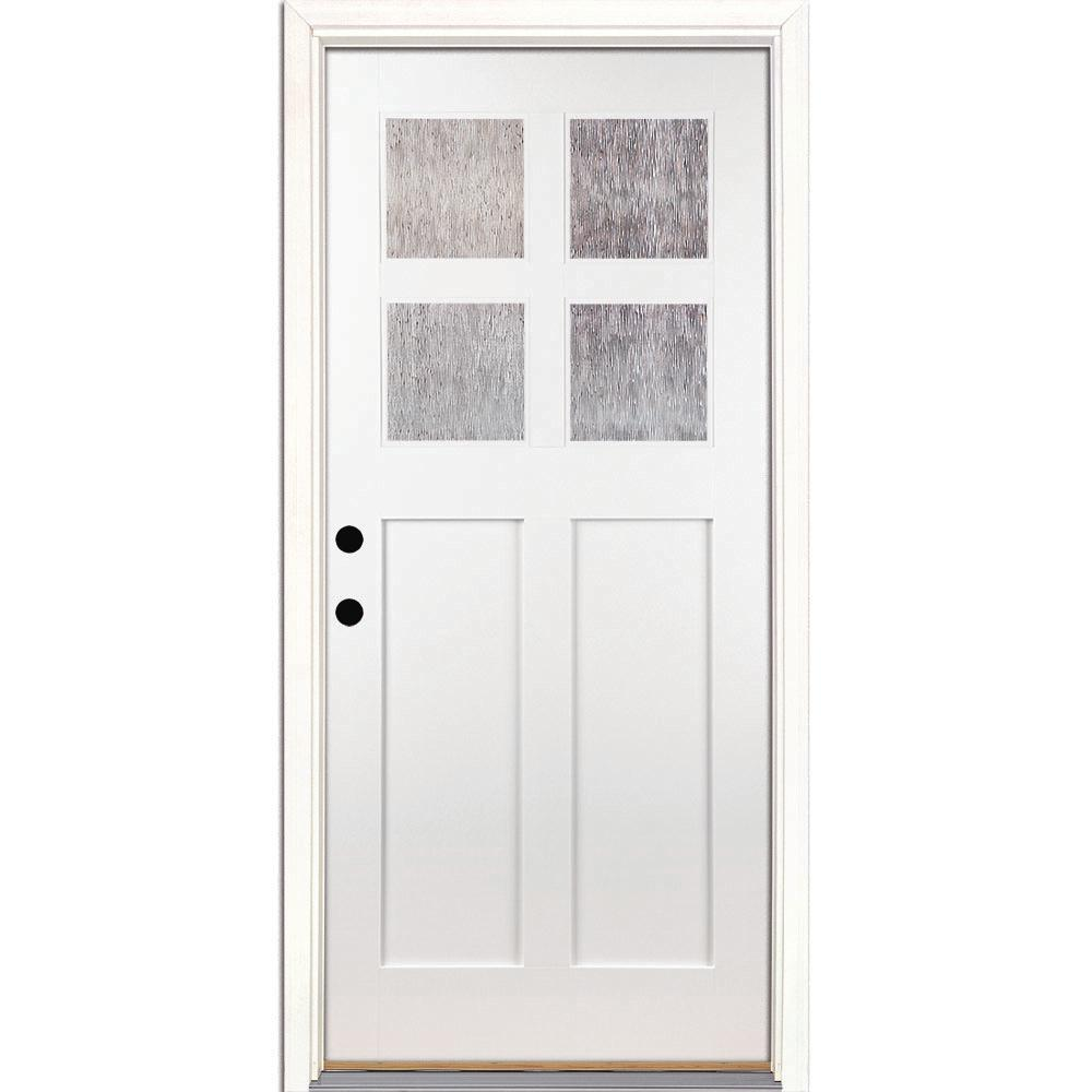 4 Lite Cord Craftsman Painted White Teak Right Hand Inswing Fibergl Prehung Front Door