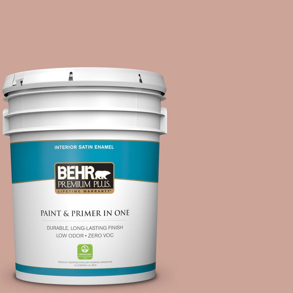 5 gal. #PPU2-08 Pink Ginger Zero VOC Satin Enamel Interior Paint