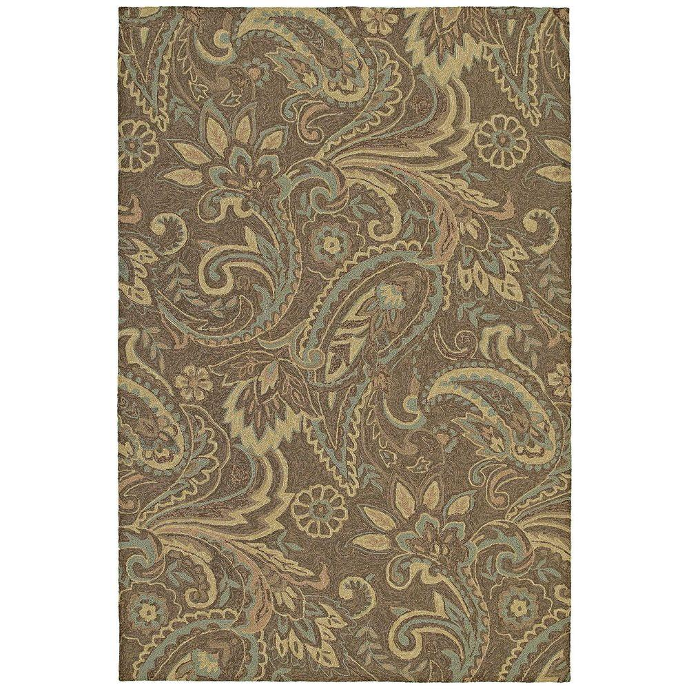 Kaleen Home and Porch Rivers End Mocha 5 ft. x 7 ft. 6 in. Indoor/Outdoor Area Rug