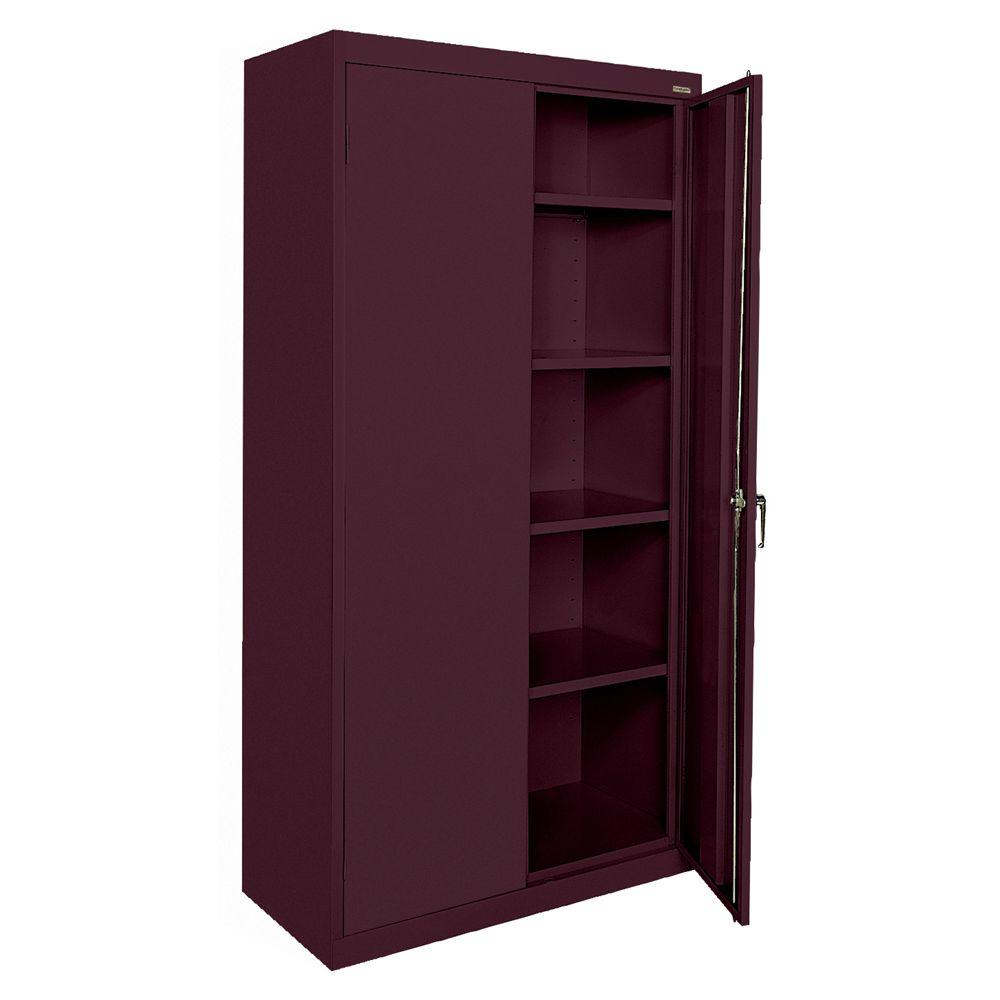 Sandusky Classic Series 72 in. H x 36 in. W x 18 in. D Steel Freestanding Storage Cabinet with Adjustable Shelves in Burgundy