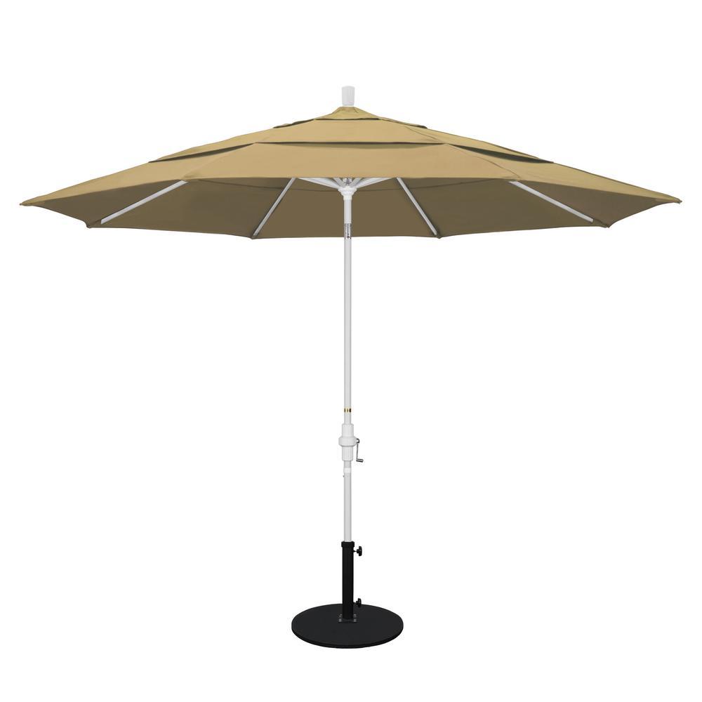 11 ft. Aluminum Collar Tilt Double Vented Patio Umbrella in Champagne
