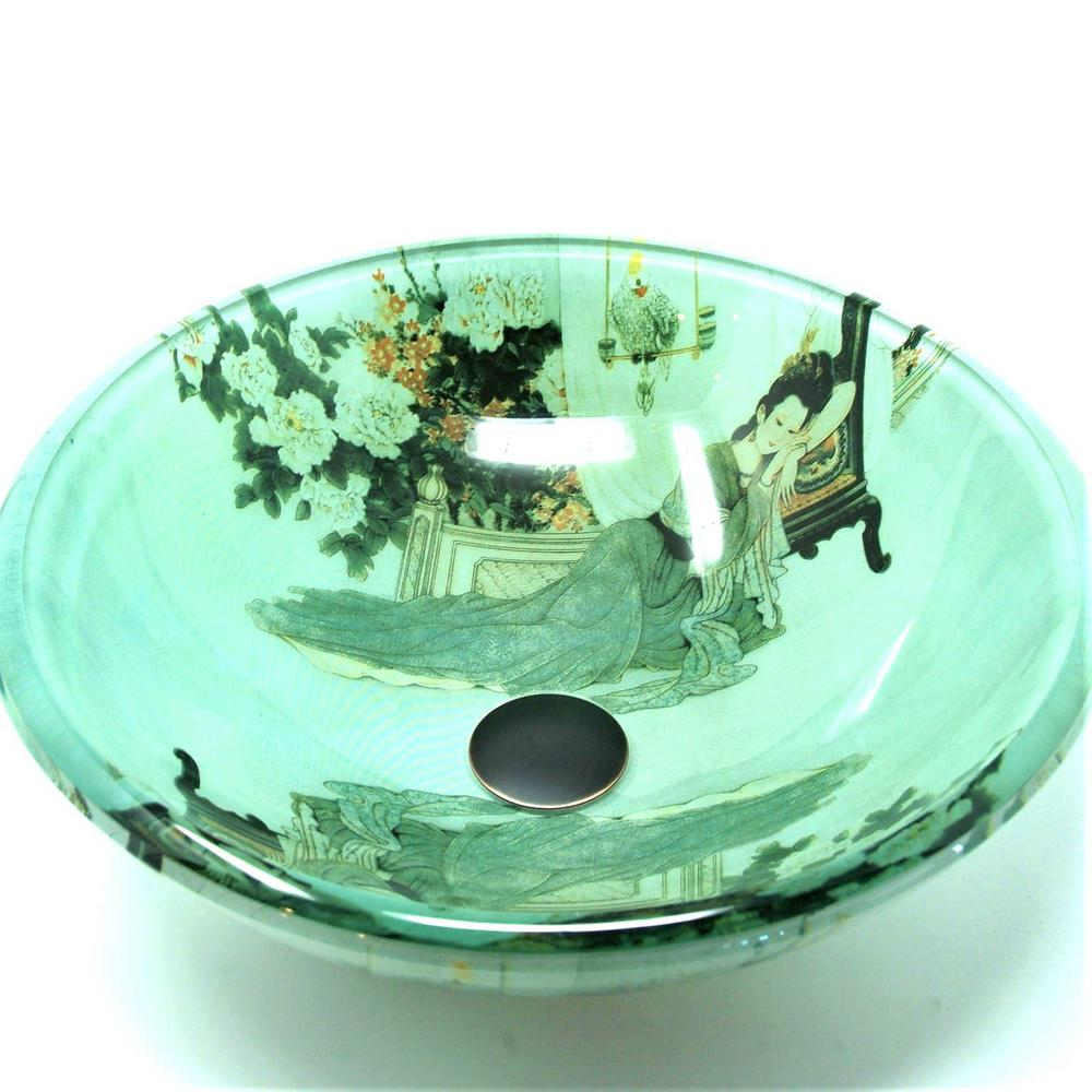 Fontaine By Italia Geisha Girl Glass Vessel Sink In Green Vs Psz002d
