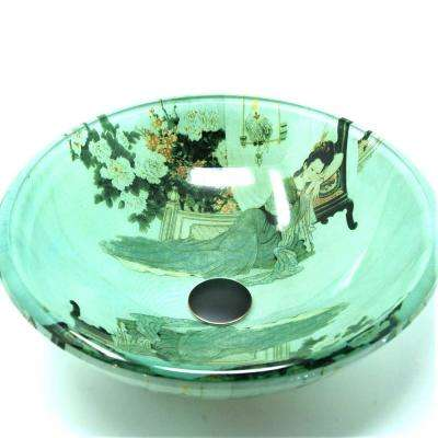 Geisha Girl Glass Vessel Sink in Green