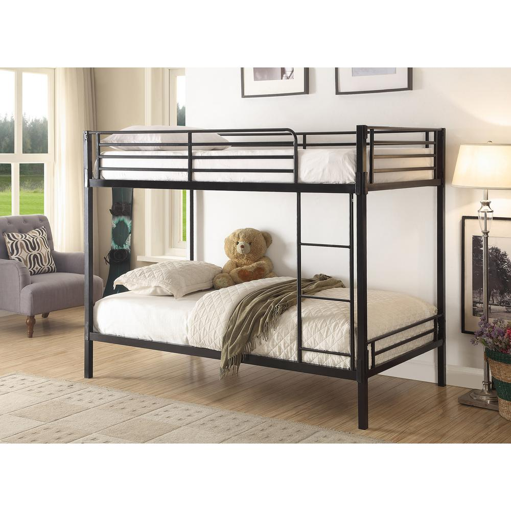 4d Concepts Twin Over Twin Metal Bunk Bed Black Boltzero