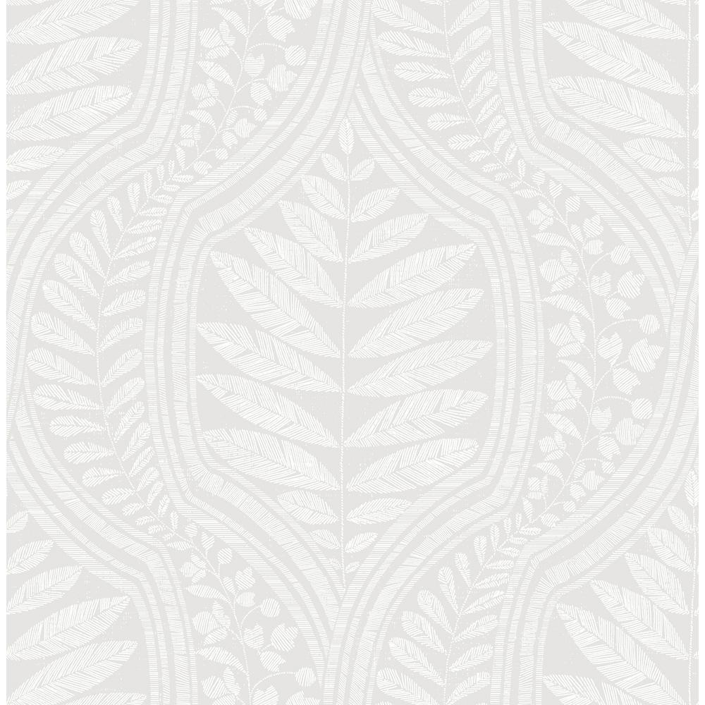 Juno Light Grey Ogee Light Grey Wallpaper Sample