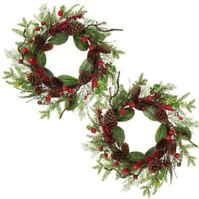 22 in. D Holiday Pine and Cedar Wreaths (Set of 2)