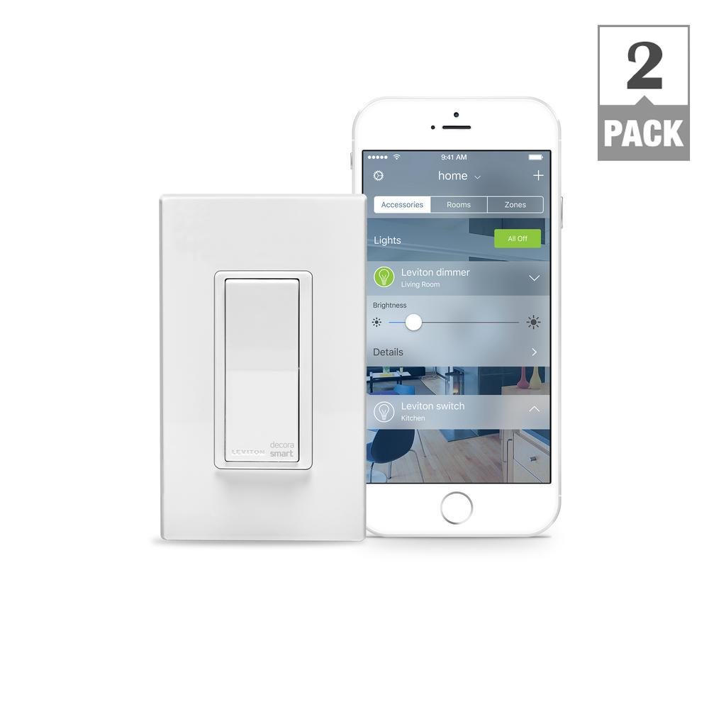 Leviton 15 Amp Decora Smart with HomeKit Technology Switch, Works with Siri (2-Pack)