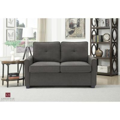 Agusta Twin Heather Grey Loveseat with Pullout Bed