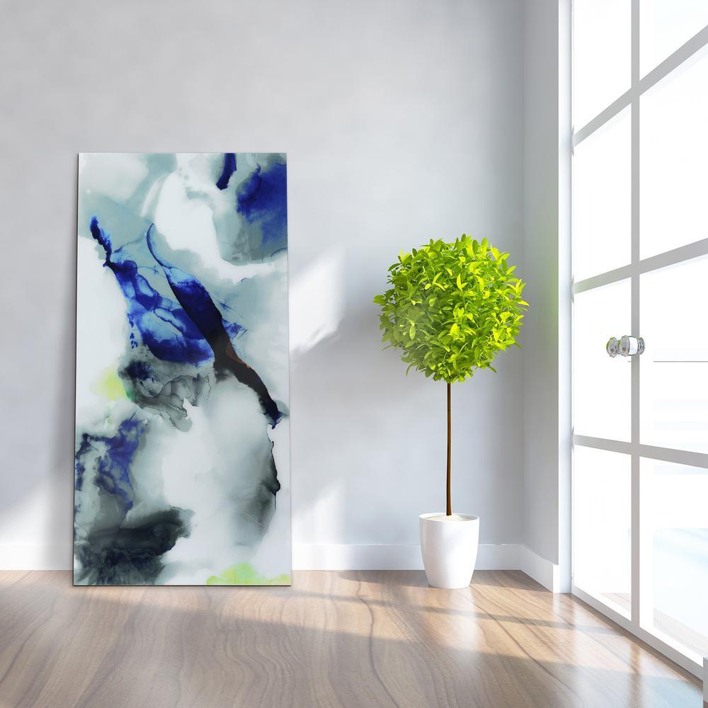 "undefined ""Blue Splash"" Frameless Free Floating Tempered Art Glass by EAD Art Coop Wall Art"