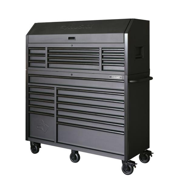 Husky Heavy Duty 56 In W 23 Drawer Deep Combination Tool Chest And Rolling Cabinet Set In Matte Black Hotc5623bb2s The Home Depot