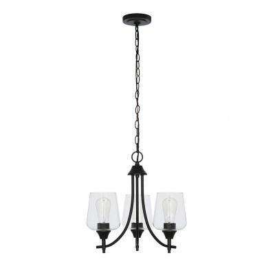 3-Light Bronze Merlot Chandelier with Clear Glass Shades