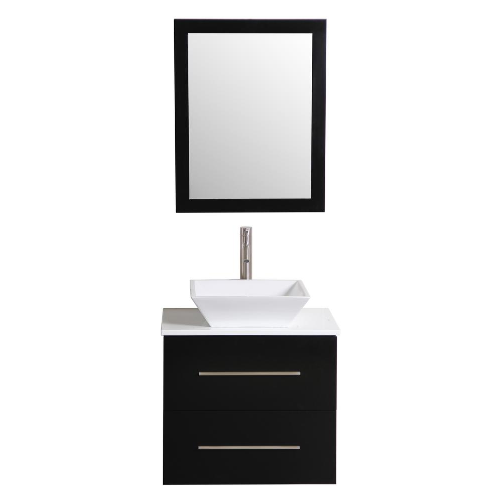 Decor Living Berto 24 in. W x 19 in. D Floating Vanity in Black with Vanity Top in White with White Basin and Mirror