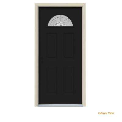 36 in. x 80 in. Fan Lite Langford Black Painted Steel Prehung Right-Hand Inswing Front Door w/Brickmould