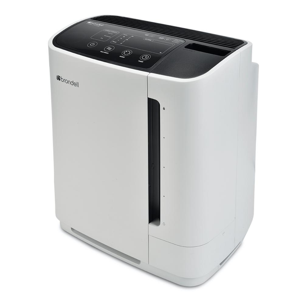 Brondell O2+ Revive TrueHEPA Air Purifier Humidifier in White IT'S NOT JUST AN AIR PURIFIER. The Revive is a premium TrueHEPA air purifier and unique humidifier. Don't just filter your air, refresh it with the Revive. Adding moisture to filtered air not only helps relieve allergy symptoms, stuffy nose and sinus congestion, but it also effectively relieves dry skin and reduces asthma symptoms. Super-efficient evaporative humidification makes for a more consistent humidity level and wont over-saturate the immediately-surrounding area. Color: White.