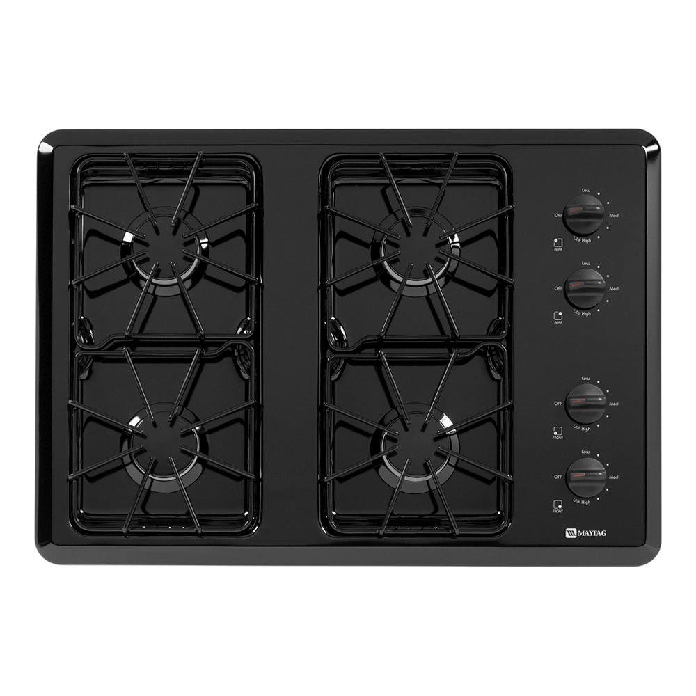 Maytag 30 in. Gas Cooktop in Black with 4 Burners including Power Cook Burners-DISCONTINUED