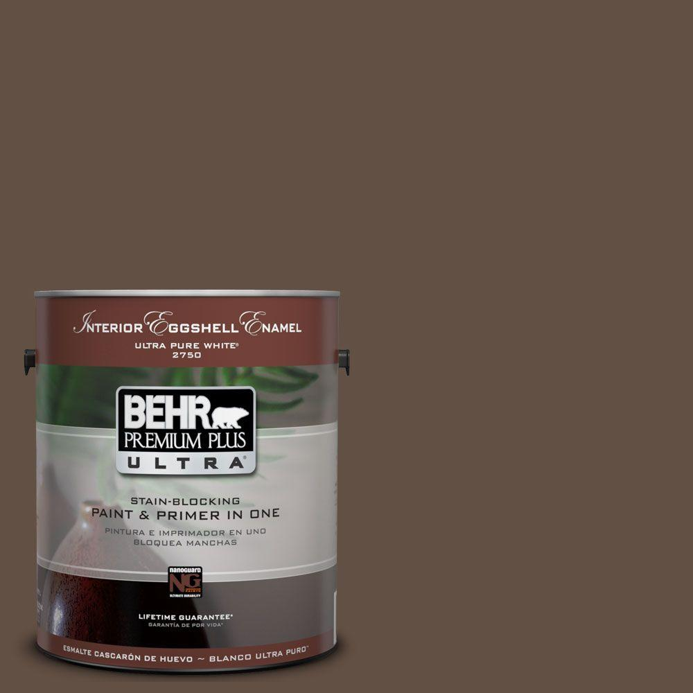 BEHR Premium Plus Ultra 1 gal. #UL170-1 Pine Cone Eggshell Enamel Interior Paint and Primer in One
