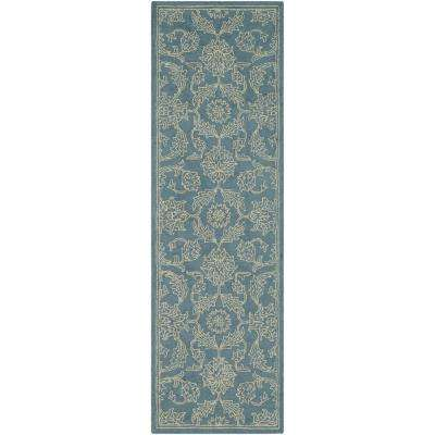 Tsurui Blue 3 ft. x 8 ft. Runner Rug