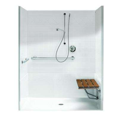 FreedomLine 63.8 in. x 37.1 in. x 77.8 in. 4-Piece Shower Stall with Right Seat and Center Drain in White