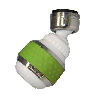 1.5 GPM Soft Grip Water-Saving Swivel Spray Aerator in White and Green