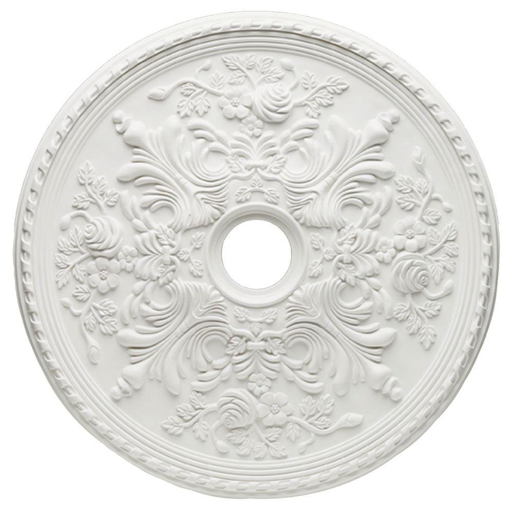 Hampton Bay 28 In White Cape May Ceiling Medallion 82315 The Home Depot