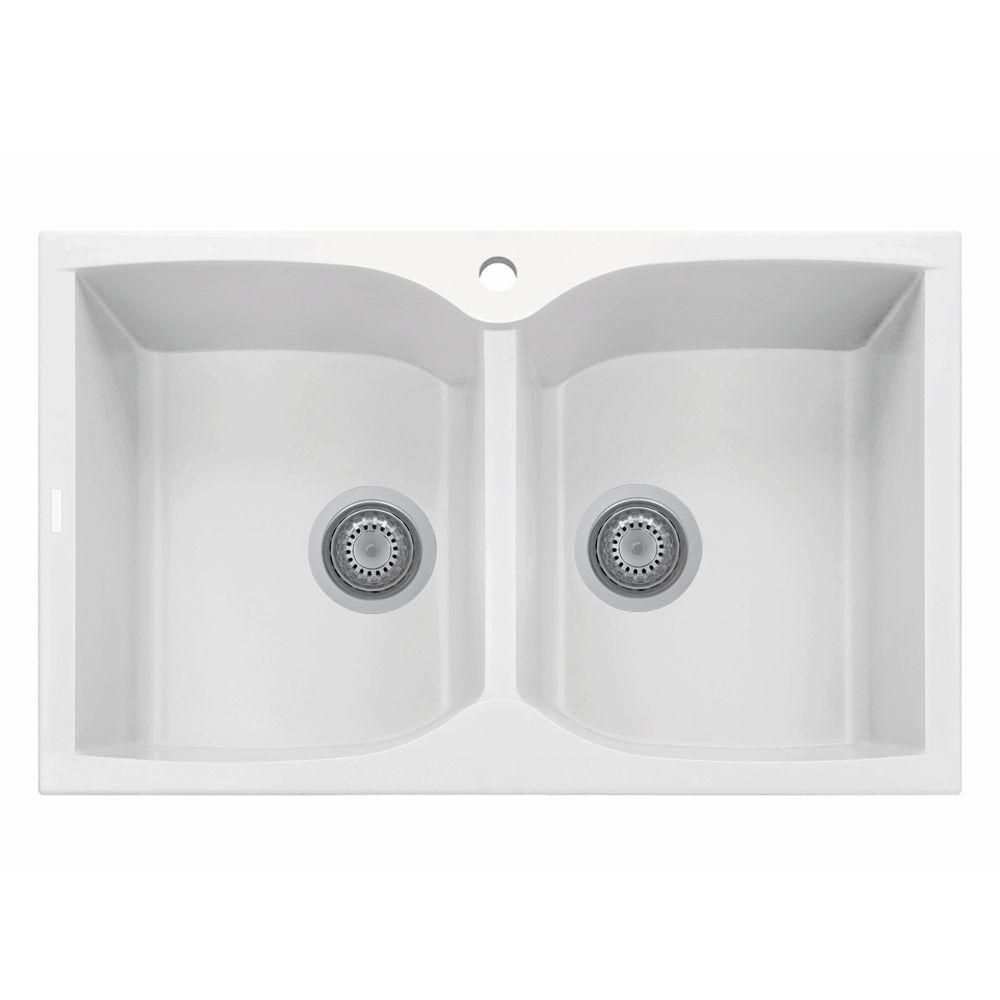 LaToscana Corax Series 31 In. Drop In Version Granite 1 Hole Double Bowl  Kitchen Sink In Milk White NK07920 58UG   The Home Depot