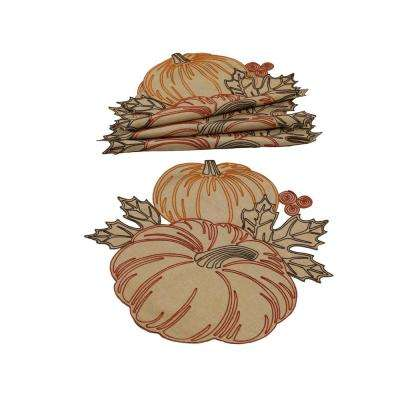 0.1 in. H x 16 in. W Round Pumpkin Party Embroidered Cutwork Placemats (Set of 4)