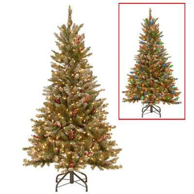 5 ft. PowerConnect Frosted Mountain Fir Artificial Christmas Slim Tree with Dual Color LED Lights