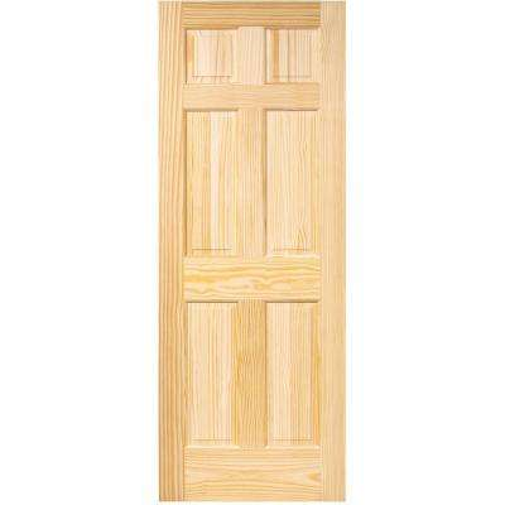 32 in. x 96 in. 6-Panel Pine Unfinished Solid Core Interior Door Slab