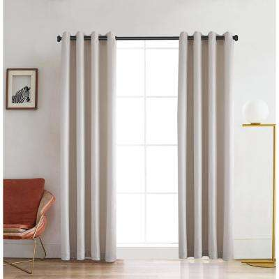 Venus 126 in. L x 52 in. W Blackout Polyester Curtain in White