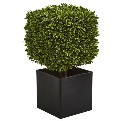 Indoor/Outdoor 27 in. Boxwood Artificial Plant in Black Planter