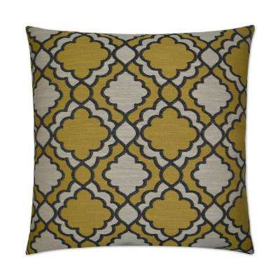 Taylor Gold Feather Down 24 in. x 24 in. Standard Decorative Throw Pillow
