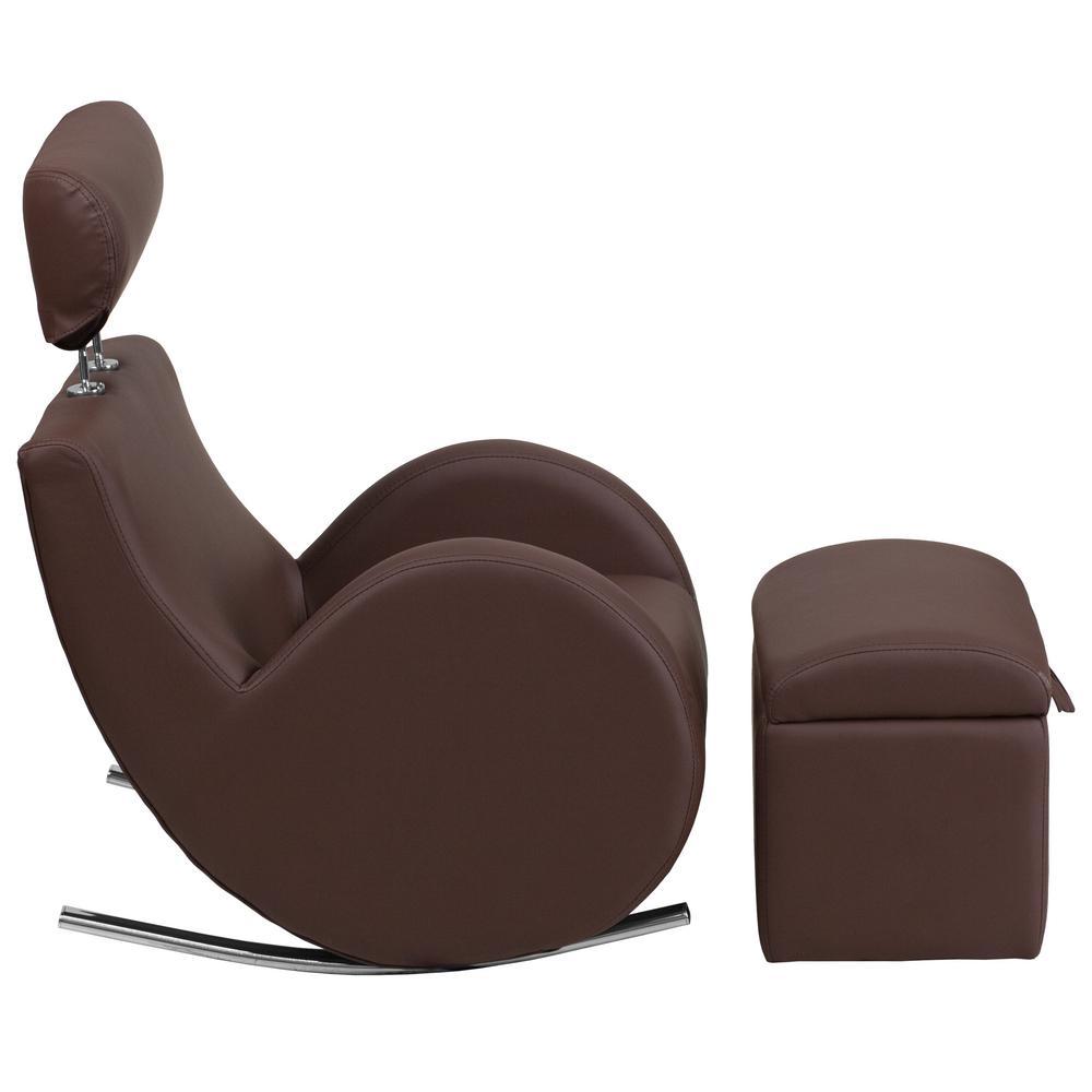 Internet #301093047. Flash Furniture Hercules Series Brown Vinyl Rocking  Chair ...