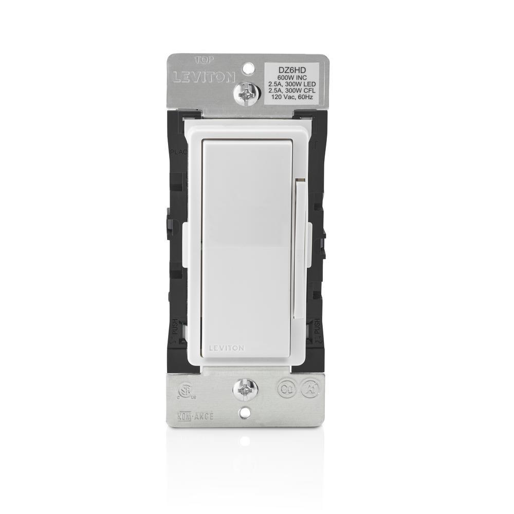 Decora Smart 600-Watt Dimmer with Z-Wave Technology , White/Light Almond