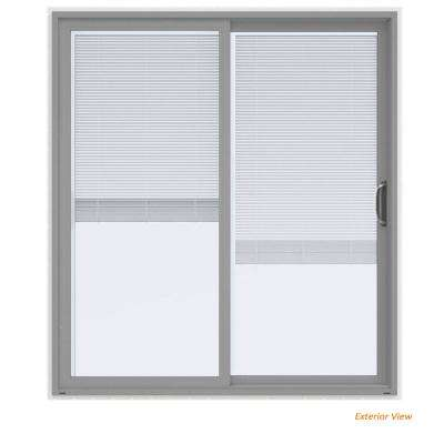 72 in. x 80 in. V-4500 Contemporary Silver Paint Vinyl Right-Hand Full Lite Sliding Patio Door w/White Interior & Blinds
