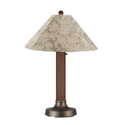 Bahama Weave 34 in. Red Castagno Outdoor Table Lamp with Bessemer Shade