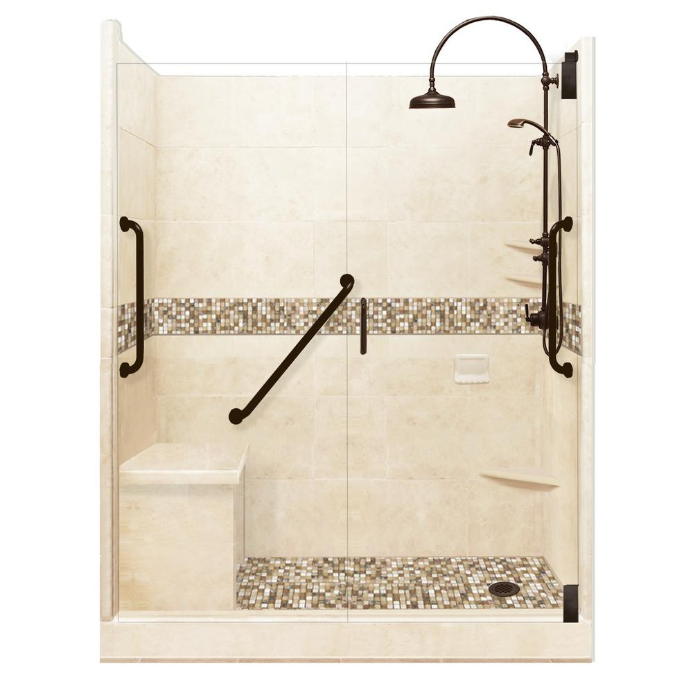 American Bath Factory Roma Freedom Luxe Hinged 30 in. x 60 in. x 80 in. Right Drain Alcove Shower Kit in Desert Sand and Old Bronze Hardware