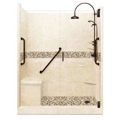 Roma Freedom Luxe Hinged 36 in. x 60 in. x 80 in. Right Drain Alcove Shower Kit in Desert Sand and Old Bronze Hardware