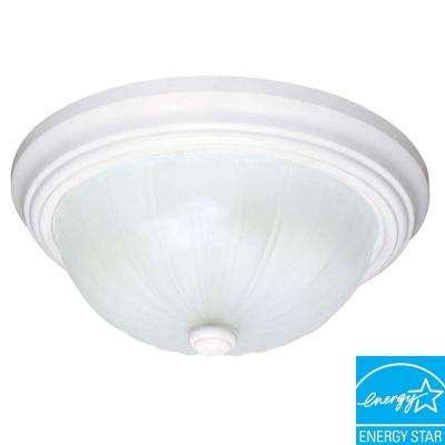 2-Light White Dome Flush Mount