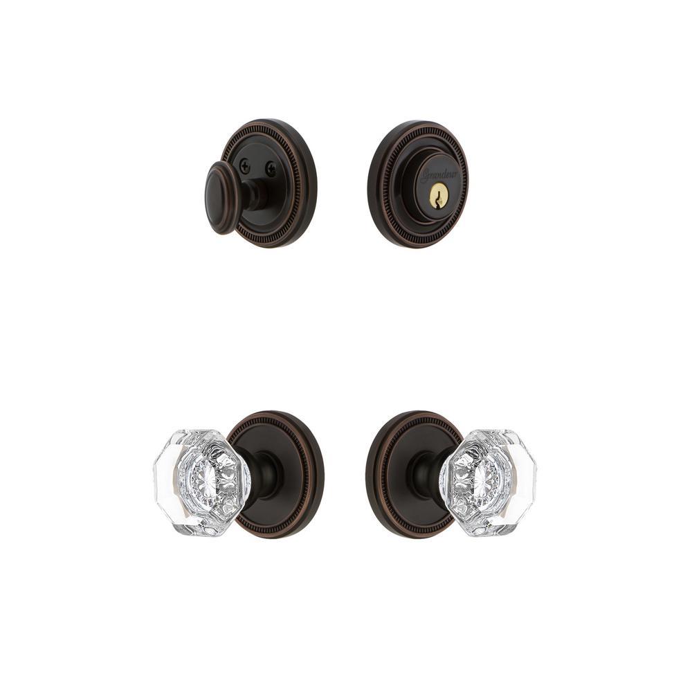 Soleil Plate 2-3/8 in. Backset Timeless Bronze Chambord Crystal Door Knob with Single Cylinder Deadbolt