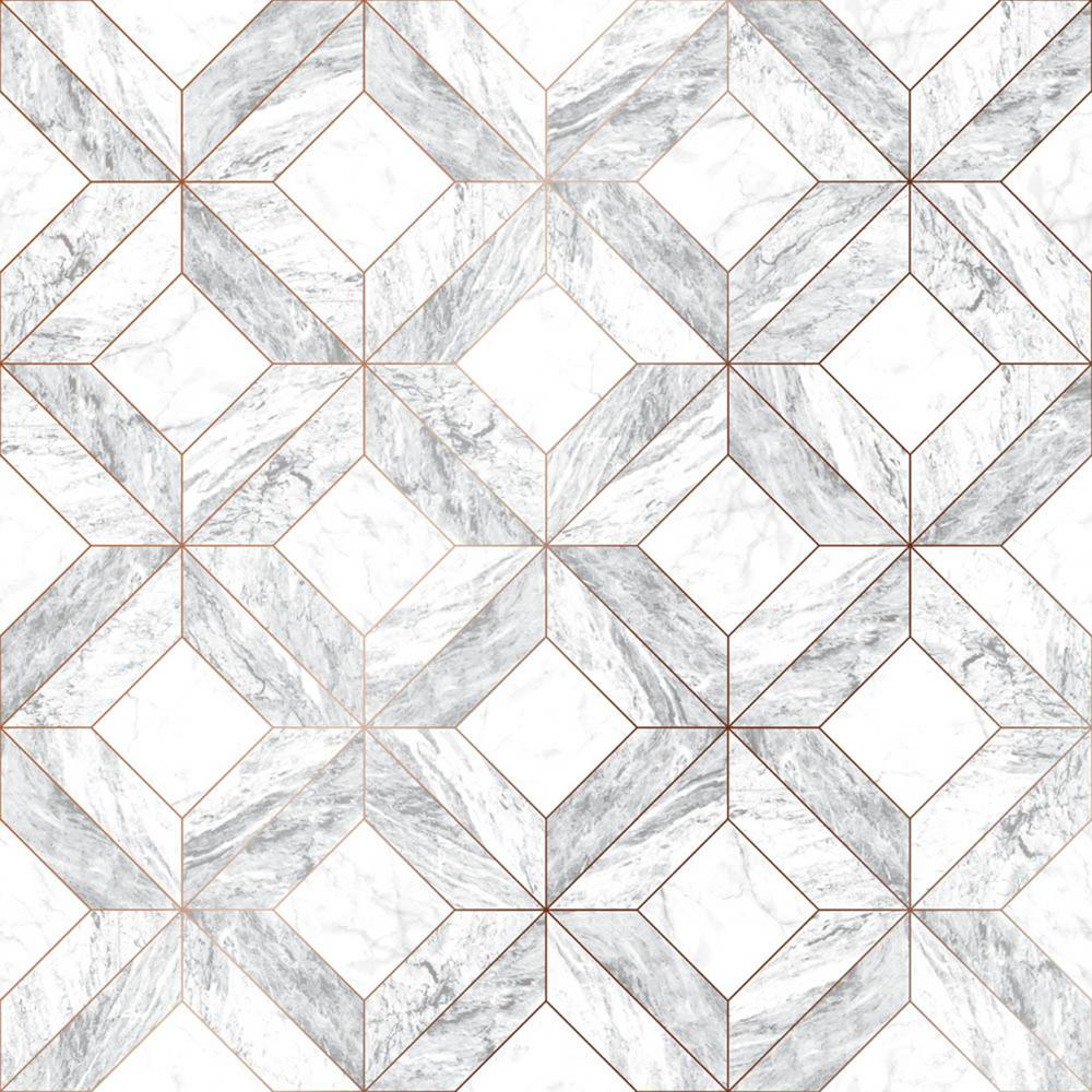Marble Marquetry White, Gray and Rose Gold Removable Wallpaper Sample