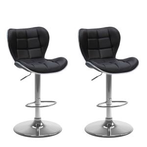 Corliving Adjustable Height Black Bonded Leather Swivel