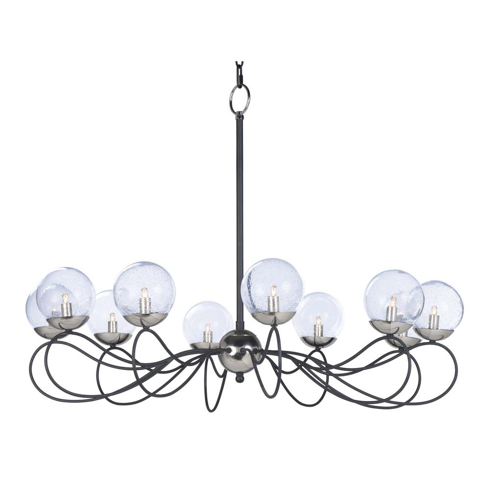 Maxim Lighting Reverb 38 in. W 10-Light Textured Black/Polished Nickel Chandelier with Bubble Glass Shade