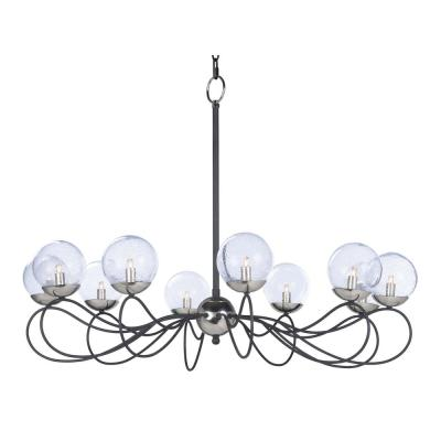 Reverb 38 in. W 10-Light Textured Black/Polished Nickel Chandelier with Bubble Glass Shade